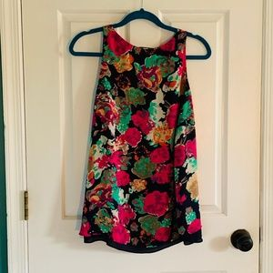 Floral silky tank top